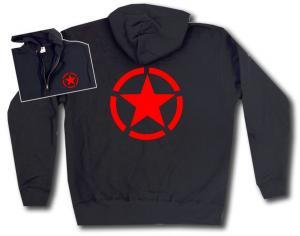 Kapuzen-Jacke: Roter Stern im Kreis (red star)