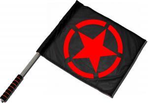 Fahne / Flagge (ca. 40x35cm): Roter Stern im Kreis (red star)