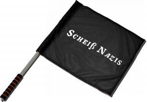 Fahne / Flagge (ca. 40x35cm): Scheiß Nazis