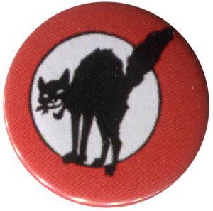 25mm Magnet-Button: Schwarze Katze (mit Kreis)