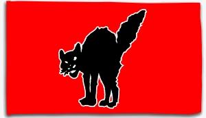 Fahne / Flagge (ca. 150x100cm): Schwarze Katze (rot)