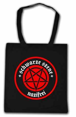Baumwoll-Tragetasche: Schwarze Szene Nazifrei - Rotes Pentagramm