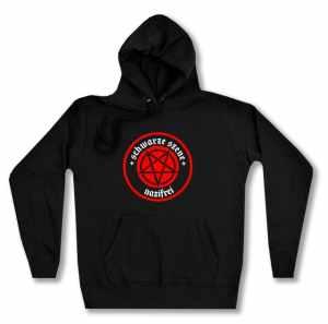 taillierter Kapuzen-Pullover: Schwarze Szene Nazifrei - Rotes Pentagramm