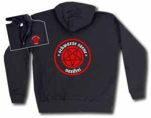 Kapuzen-Jacke: Schwarze Szene Nazifrei - Rotes Pentagramm