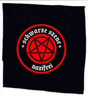 Aufnäher: Schwarze Szene Nazifrei - Rotes Pentagramm