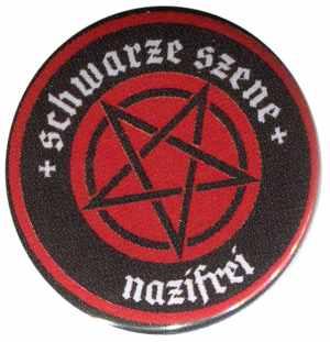 50mm Button: Schwarze Szene Nazifrei - Rotes Pentagramm