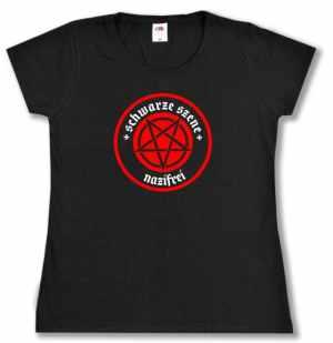 Girlie-Shirt: Schwarze Szene Nazifrei - Rotes Pentagramm