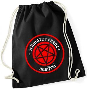 Sportbeutel: Schwarze Szene Nazifrei - Rotes Pentagramm