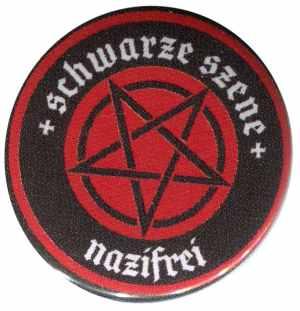 25mm Button: Schwarze Szene Nazifrei - Rotes Pentagramm