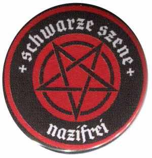 25mm Magnet-Button: Schwarze Szene Nazifrei - Rotes Pentagramm