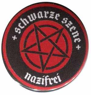 37mm Button: Schwarze Szene Nazifrei - Rotes Pentagramm