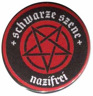 50mm Magnet-Button: Schwarze Szene Nazifrei - Rotes Pentagramm