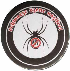 37mm Magnet-Button: Schwarze Szene Nazifrei - Spinne