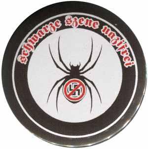 50mm Button: Schwarze Szene Nazifrei - Spinne