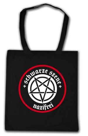 Baumwoll-Tragetasche: Schwarze Szene Nazifrei - Weißes Pentagramm