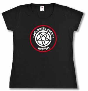 tailliertes T-Shirt: Schwarze Szene Nazifrei - Weißes Pentagramm