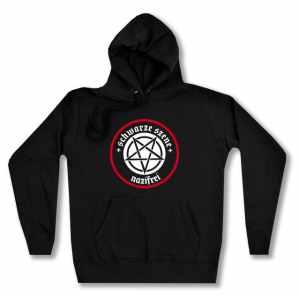 taillierter Kapuzen-Pullover: Schwarze Szene Nazifrei - Weißes Pentagramm