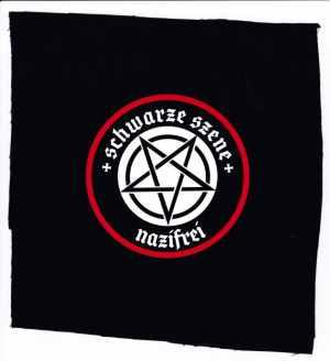 Aufnäher: Schwarze Szene Nazifrei - Weisses Pentagramm