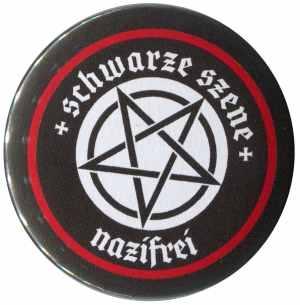 25mm Button: Schwarze Szene Nazifrei - Weißes Pentagramm