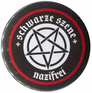 37mm Button: Schwarze Szene Nazifrei - Weißes Pentagramm