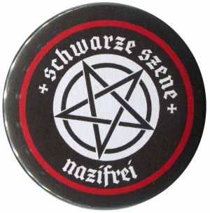 50mm Button: Schwarze Szene Nazifrei - Weißes Pentagramm