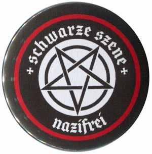 50mm Magnet-Button: Schwarze Szene Nazifrei - Weißes Pentagramm
