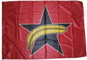 Fahne / Flagge (ca. 150x100cm): Schwarzer Stern + Banane