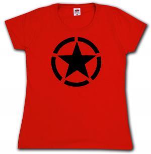 tailliertes T-Shirt: Schwarzer Stern im Kreis (Black Star)