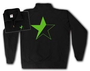 Sweat-Jacket: Schwarz/grüner Stern