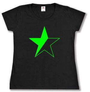 Girlie-Shirt: Schwarz/grüner Stern