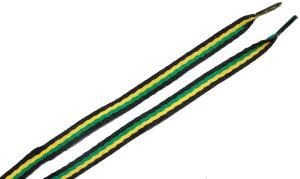 Schnürsenkel: Schwarz/grün/gelb/schwarze Schnürsenkel