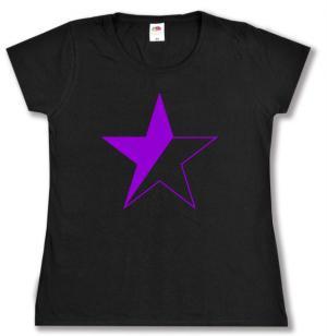 tailliertes T-Shirt: schwarz/lila Stern