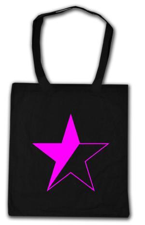 Baumwoll-Tragetasche: schwarz/pinker Stern