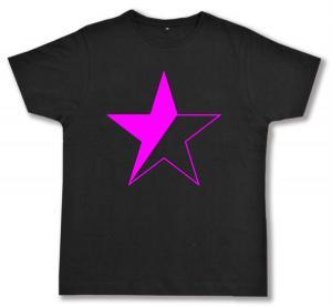 Fairtrade T-Shirt: schwarz/pinker Stern