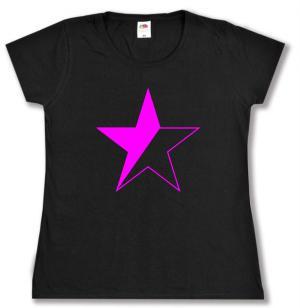 tailliertes T-Shirt: schwarz/pinker Stern