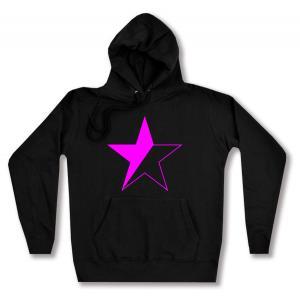 taillierter Kapuzen-Pullover: schwarz/pinker Stern