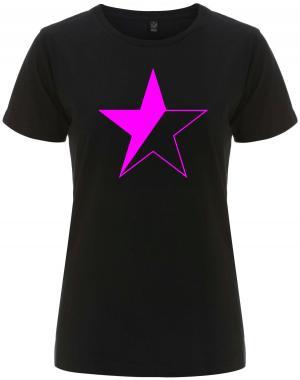 tailliertes Fairtrade T-Shirt: schwarz/pinker Stern