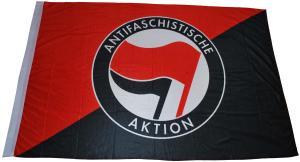 Fahne / Flagge (ca. 150x100cm): Schwarz/rote Fahne mit Antifa-Logo (rot/schwarz)