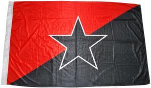 Fahne / Flagge (ca. 150x100cm): Schwarz/rote Fahne mit schwarzem Stern