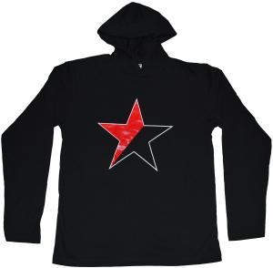 Kapuzen-Longsleeve: Schwarz/roter Stern