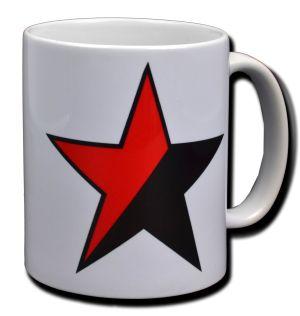 Tasse: Schwarz/roter Stern
