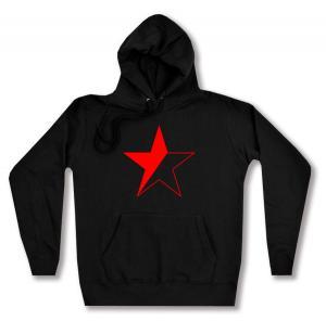taillierter Kapuzen-Pullover: Schwarz/roter Stern