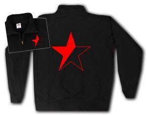 Sweat-Jacket: Schwarz/roter Stern