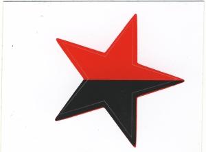 Aufkleber: schwarz/roter Stern
