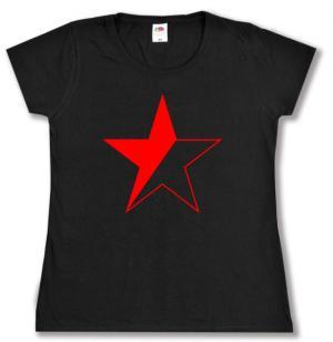 tailliertes T-Shirt: Schwarz/roter Stern