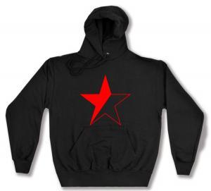 Kapuzen-Pullover: Schwarz/roter Stern