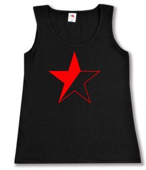 tailliertes Tanktop: Schwarz/roter Stern