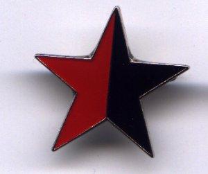 Anstecker / Pin: schwarz/roter Stern