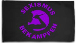 Fahne / Flagge (ca. 150x100cm): Sexismus bekämpfen (lila)