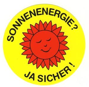 Aufkleber: Sonnenenergie? Ja sicher!